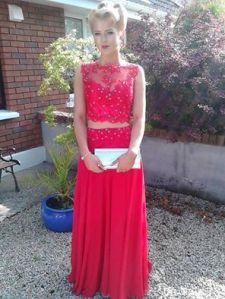 Red lace evening dress perfect debs prom