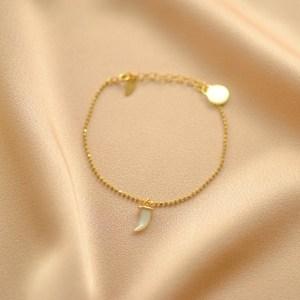 pulsera cadena colmillo blanco