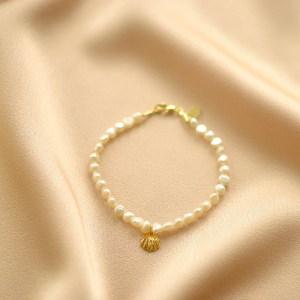 pulsera perlas mini concha y circonitas