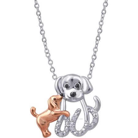 Diamond Accent Two-Tone Dog Mom and Child Pendant, 18