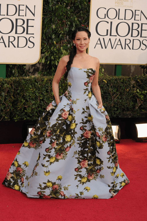 Lucy Liu Golden Globes 2013 red carpet wearing Carolina Herrera