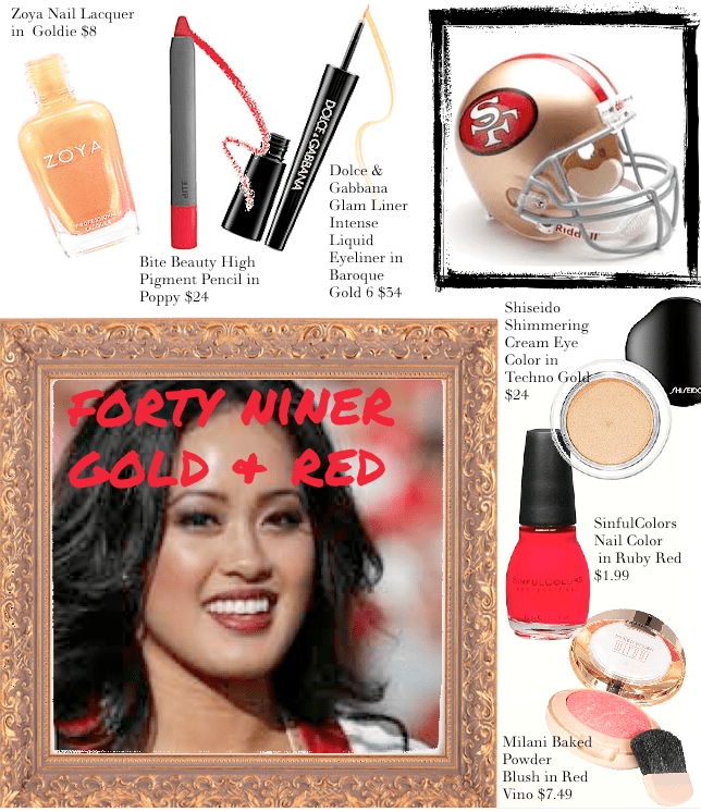 Trending 49er gold and red makeup layout