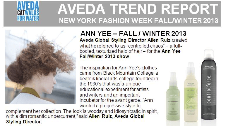 ann yee aveda fall fashion week 2013 2 hair styling