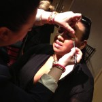 Sonja from Bobbi Brown doing my makeup (Tracey Brown) at Blush Beauty Hour Nordstrom may 5