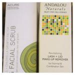 ndalou Naturals Revitalizing Lash & Lid Makeup Remover, Accure Brightening Facial Scrub