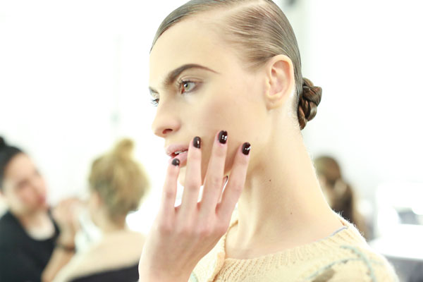 Oxblood Nails at Naeem Khan Fall Fashion week 2013 harpersbazaar.com