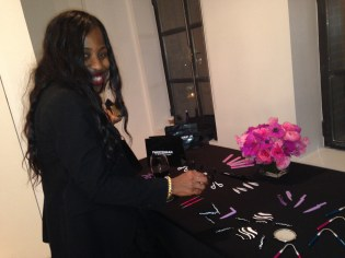 Rana checking out the brushes at the Tweezerman Brush iQ event