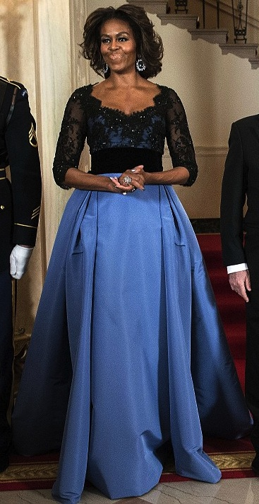 Michelle Obama Carolina Herrera state dinner custom dress 2014