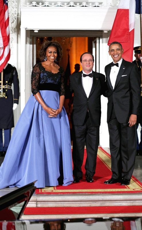 Michelle and President Barak Obama with French President François Hollande
