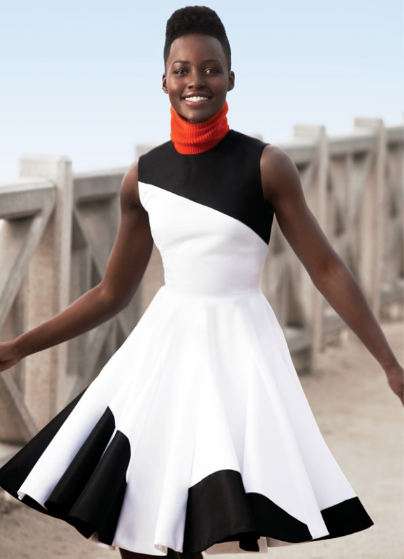 Marie Claire May 2014 Photograph by Cedric Buchet Dress, price upon request, Scarf, $450, Dior; Ear Cuff, $290, Graziela Gems