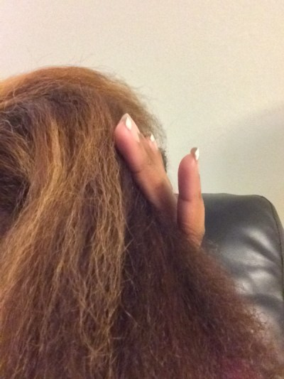 My Honey Child Coconut Hair Milk after blow drying