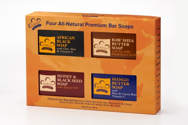 Nubian Herigage Four  natural bar soaps gift set
