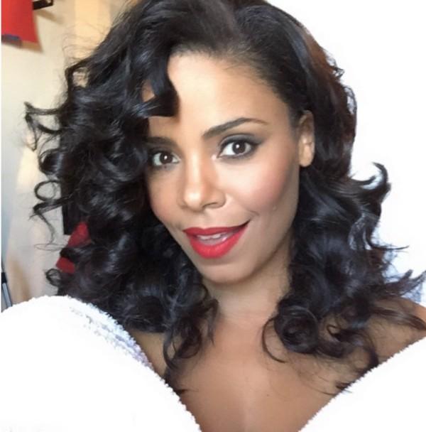 Sanaa Lathan Red Lips Simple Makeup