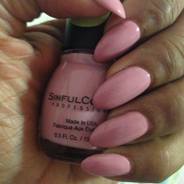 sinful colors pink break manicure