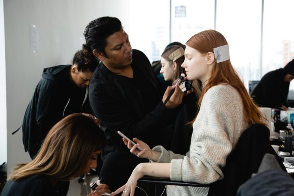 models fashion week backstage