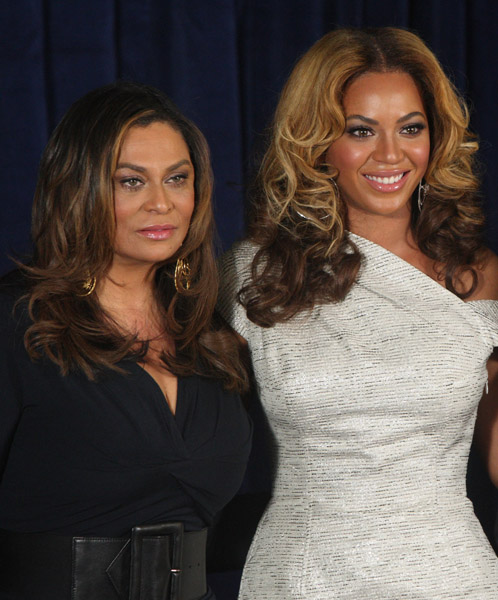 Tina Knowles and Beyonce at the unveiling of the Beyonce' Cosmetology Center New York March 5, 2010 Getty Images