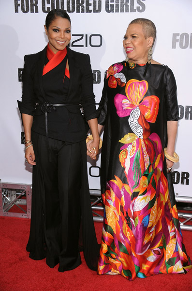 "Janet Jackson and Ntozake Shange attend the premiere of ""For Colored Girls"" at the Ziegfeld Theatre on October 25, 2010 in New York City.  Getty Images"