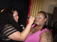 Makeup artist Keke and Publicist Renee Jennings getting her makeup done for Kiss the Curves