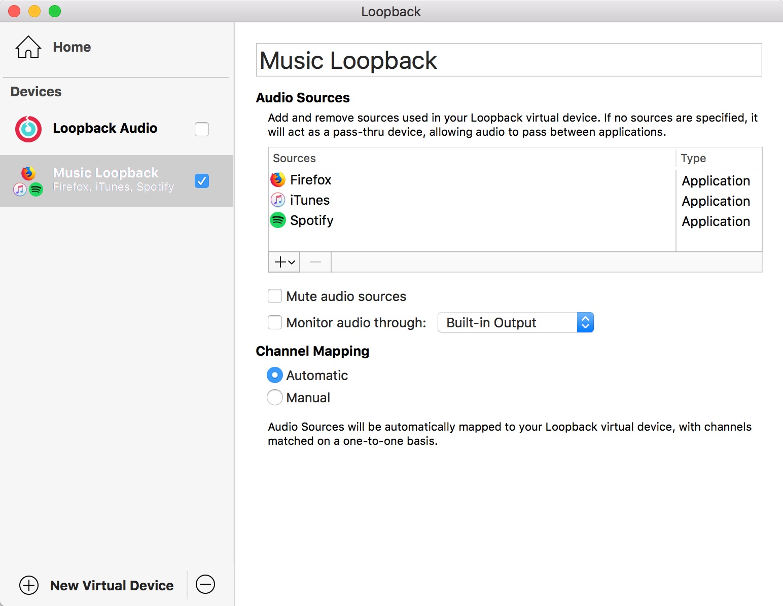 Loopback Settings