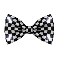 Black and White Checkered Bow Tie with White LED Lights ...