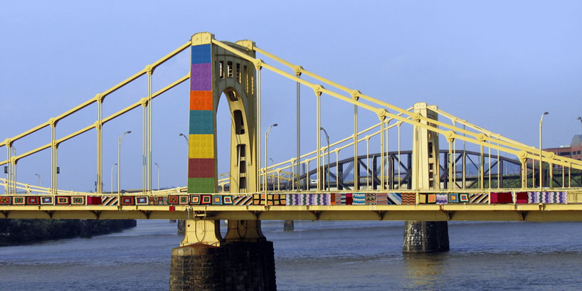 Yarn bombing on the Andy Warhol's bridge in Pittsburgh