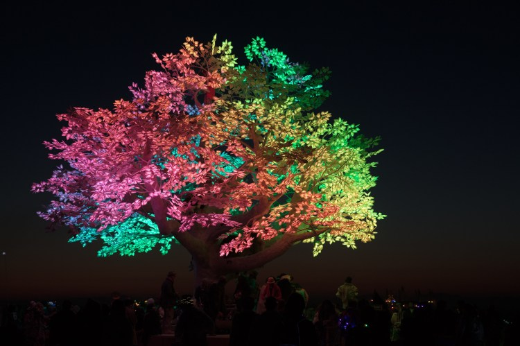 A photograph of the multi-colored Tree of Tenere at night; each leaf has 7 LEDs.