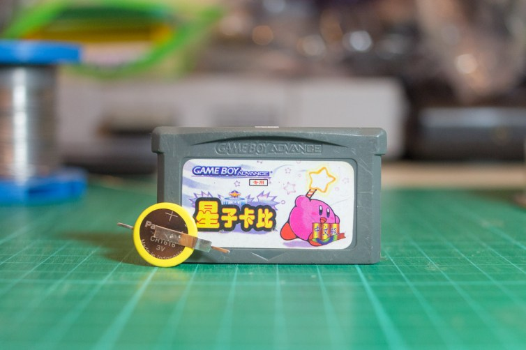 GBA cart and CR1616 battery with solder tabs