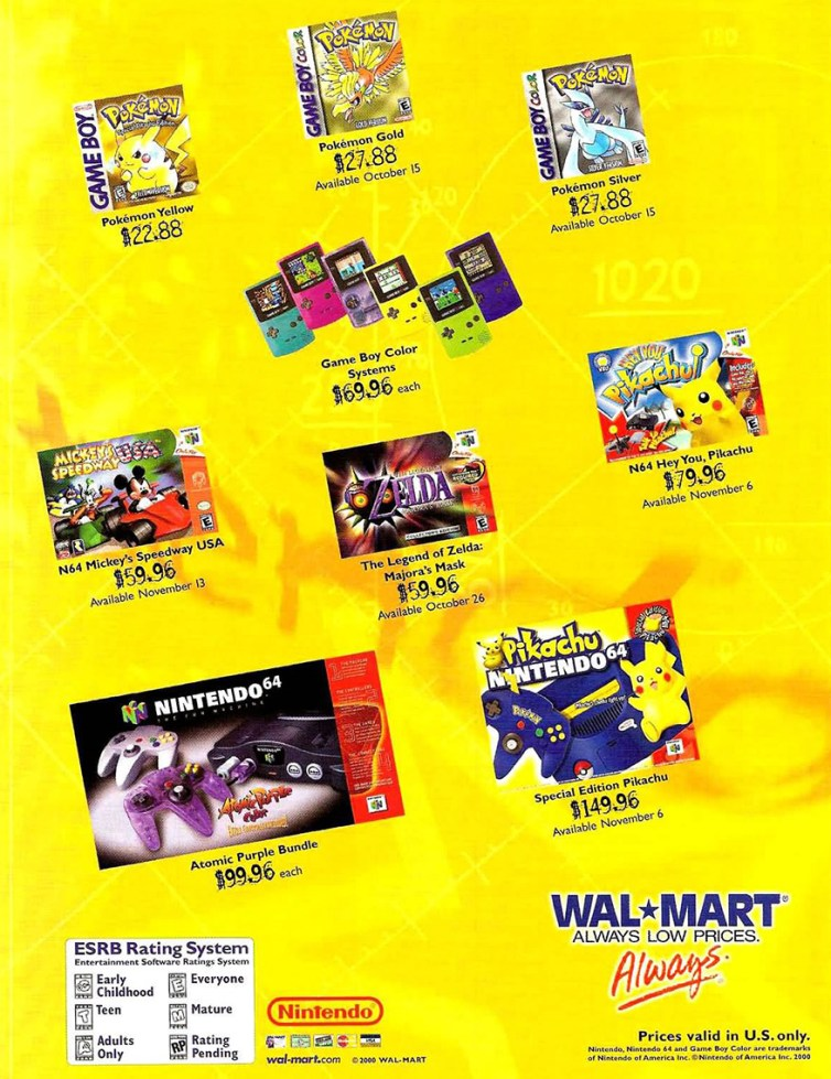 A November 2000 Walmart ad featuring the Pikachu N64