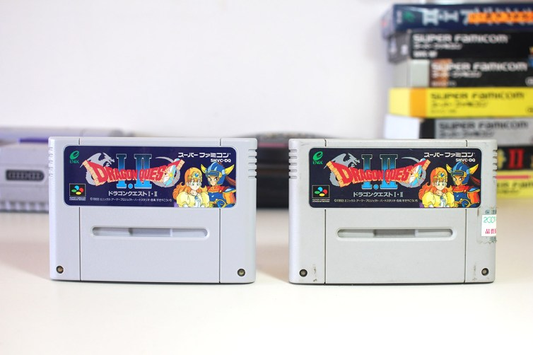 Comparison of genuine and bootleg Dragon Quest carts