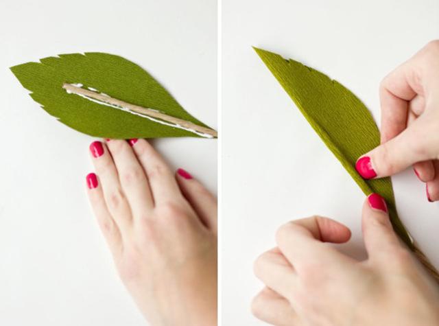 DIY GiantCrepePaperRoses 11 DIY ดอกกุหลาบขนาดยักษ์จากกระดาษย่น