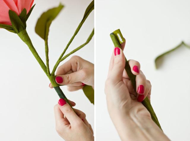 DIY GiantCrepePaperRoses 15 DIY ดอกกุหลาบขนาดยักษ์จากกระดาษย่น