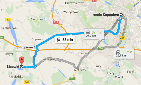 Mapa - dojazd z Lisówek do Poznania