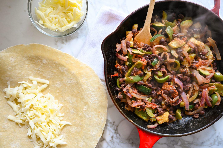 Summer Veggie & Black Bean Burrito