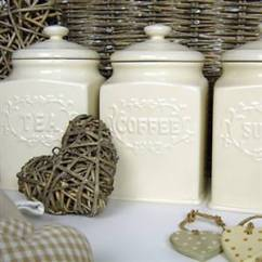 Kitchen Canisters Ceramic Tuscan French Style Tea,coffee & Sugar | Bliss And Bloom Ltd