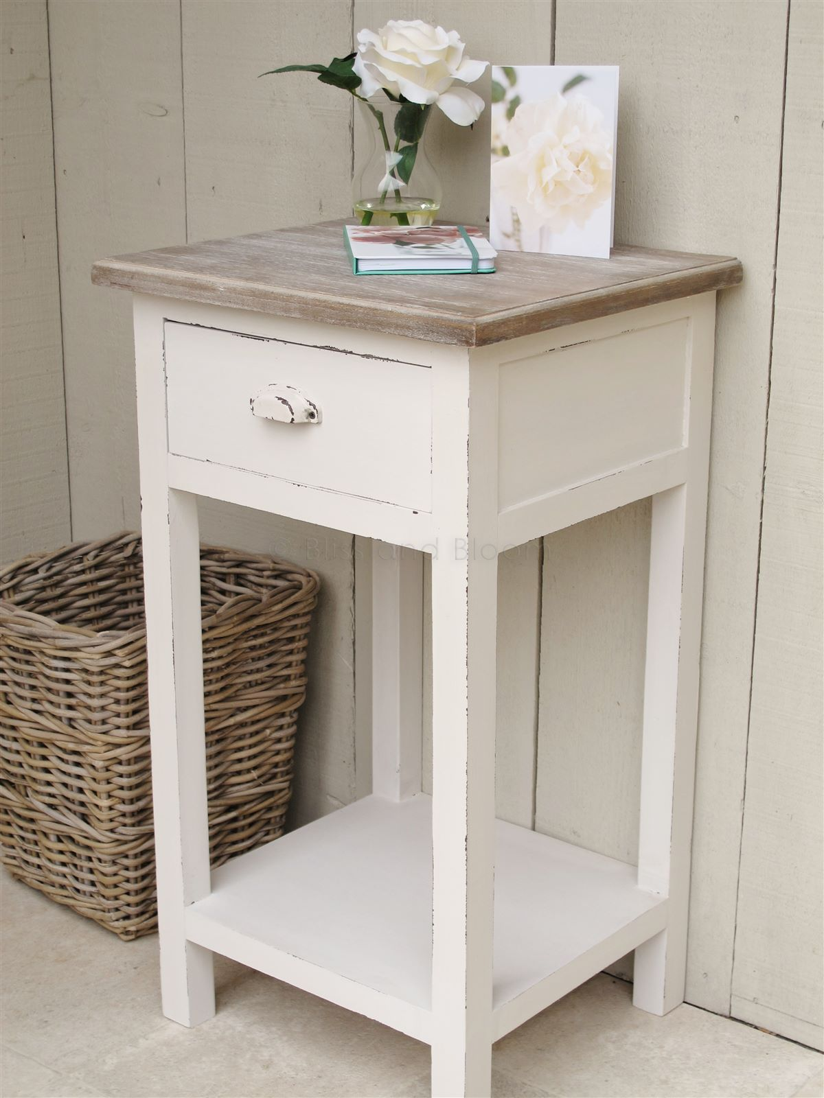 Off White Bedside Side Table Bliss And Bloom Ltd