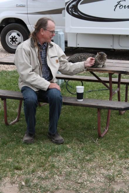 Greg Makes Friends w/Camp Kitty