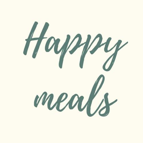 happy meals logo, green writing on a pale background