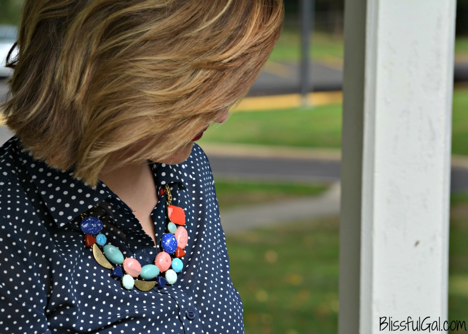 How to Style a Button-Up- Styling a button-up with a chunky statement necklace is an easy way to look put together