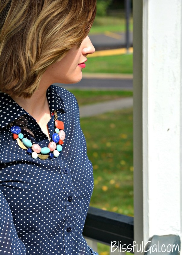 How to Style a Button-Up: Styling a button-up with a chunky statement necklace is an easy way to look put together