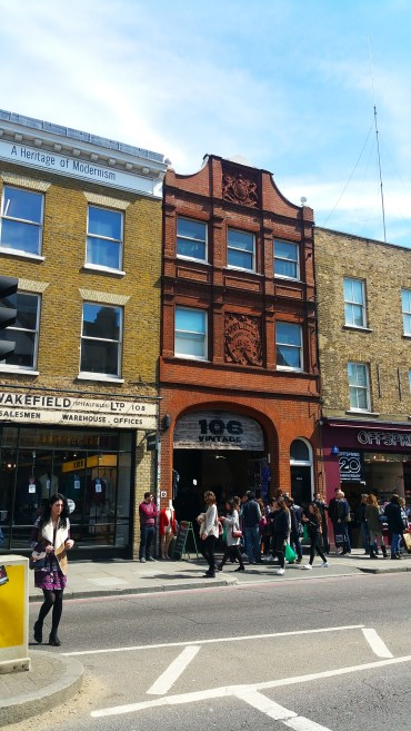 Checking out vintage shops, near the Brick Lane Street Market.