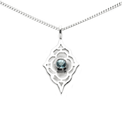 Sterling Silver Moroccan Pendant with 4mm blue topaz