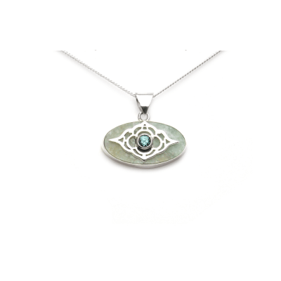 Sterling Silver and Aquamarine Moroccan pendant