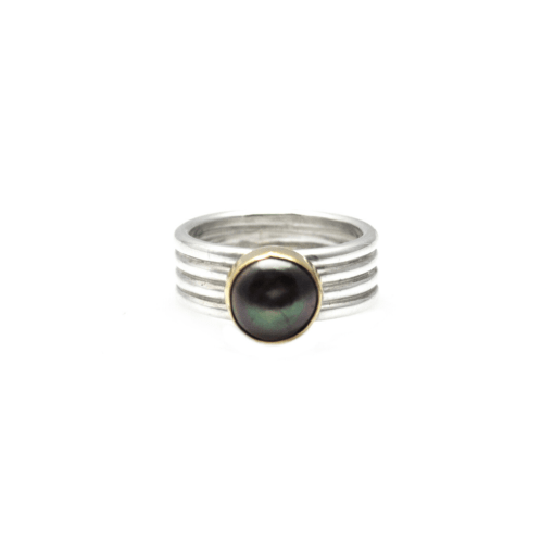 Two Tone stacked ring with Fiji Peacock Pearl