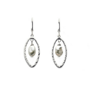 Artisan Earrings | Marquise Hammered Earrings With White Baroque Pearl Accent