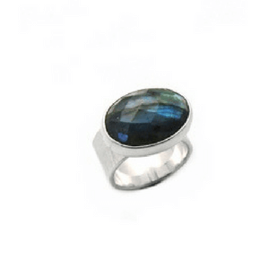 Artisan Ring | Faceted Labradorite Hammered Band in Argentium Silver