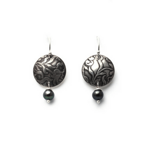 Artisan Earrings | Floral Roller-Printed Earrings With Patina And Peacock Pearl Accent