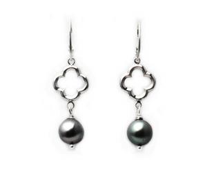 Quatrefoil Grey Freshwater Pearl Earrings