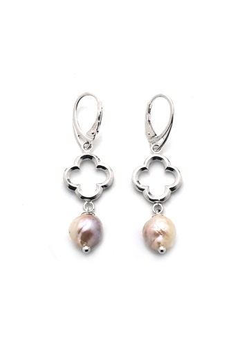 Baroque Pastel Freshwater Pearl Quatrefoil Earrings