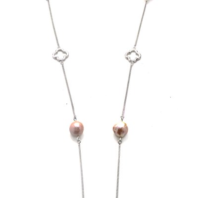 Quatrefoil Pink Baroque Pearl Necklace