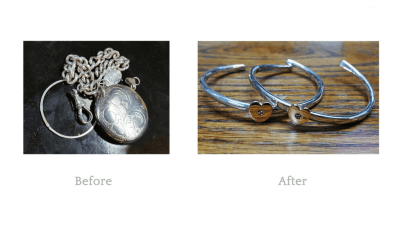 Repurposed Old jewellery was turned into sentimental bangles for family members